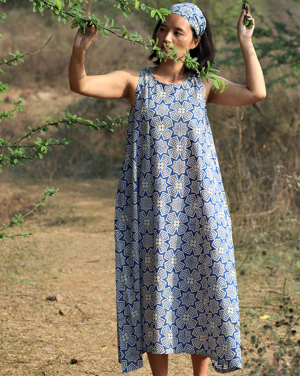 Beige blue blockprinted jal dress