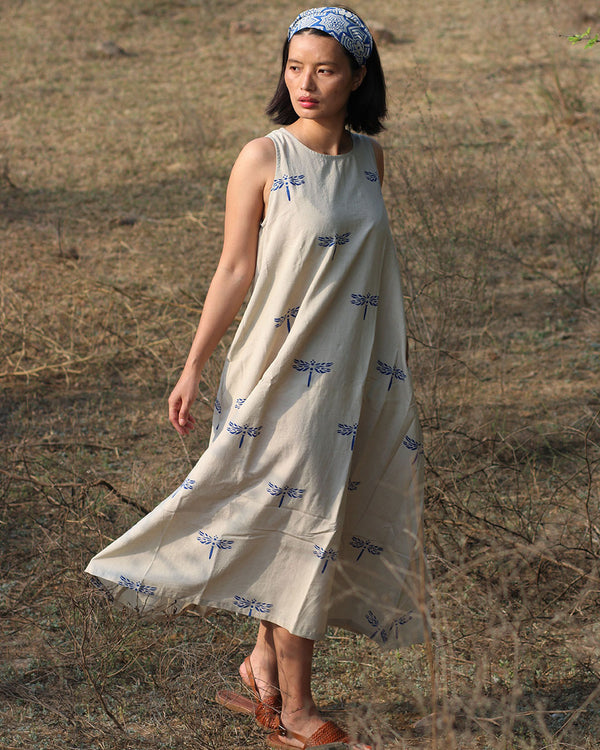 Beige blue blockprinted dragonfly sleeveless dress