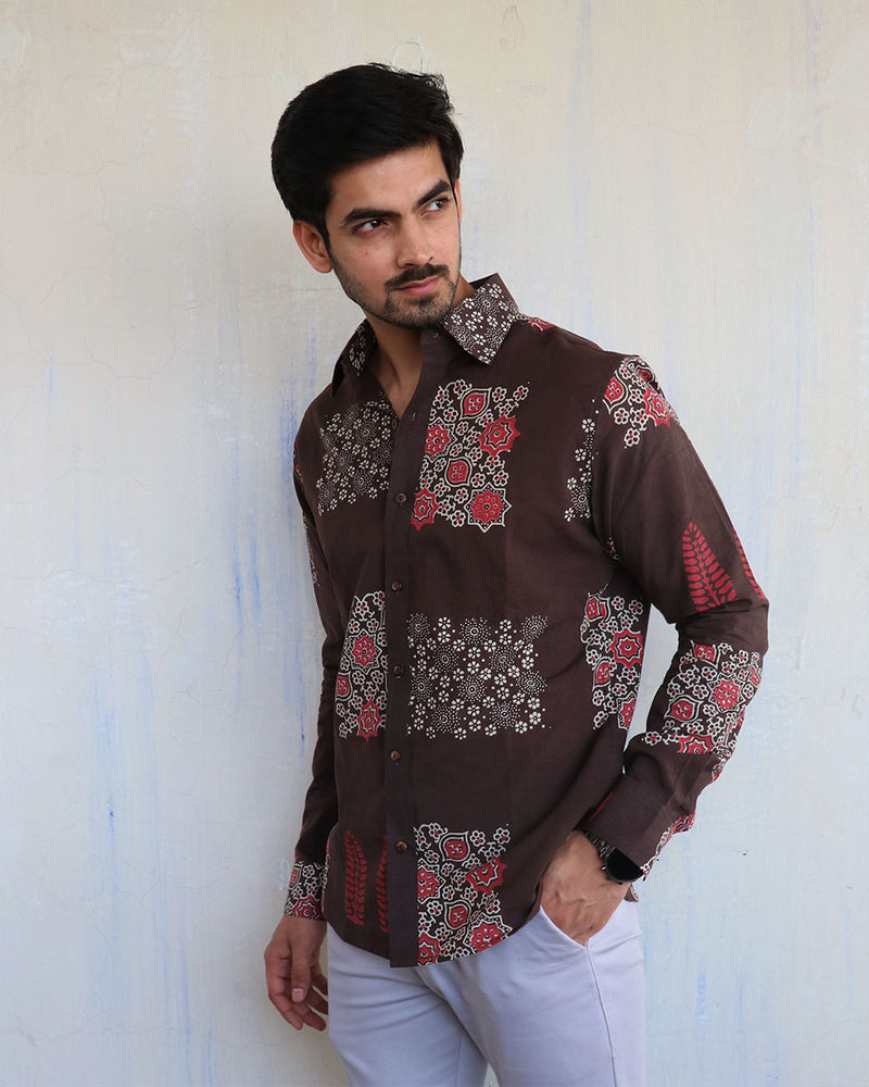 Brown Block- Printed Men's Shirt