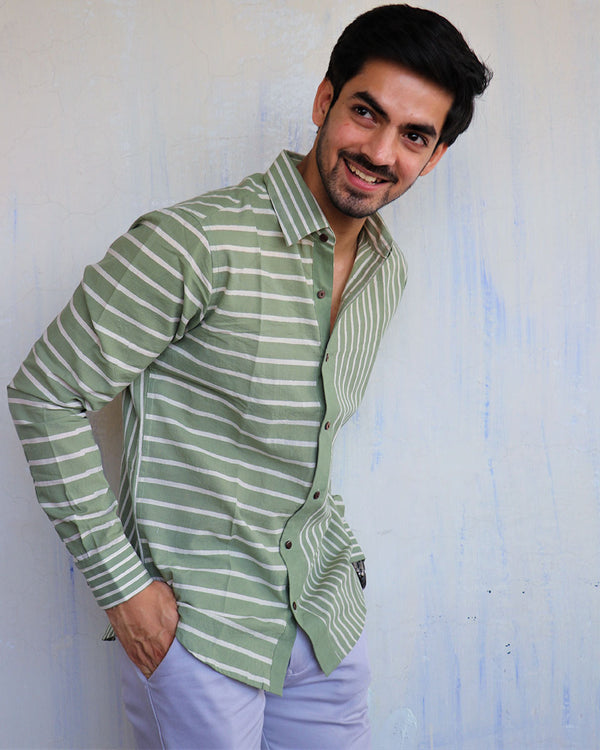 Green Stripe Block-Printed Men's Shirt