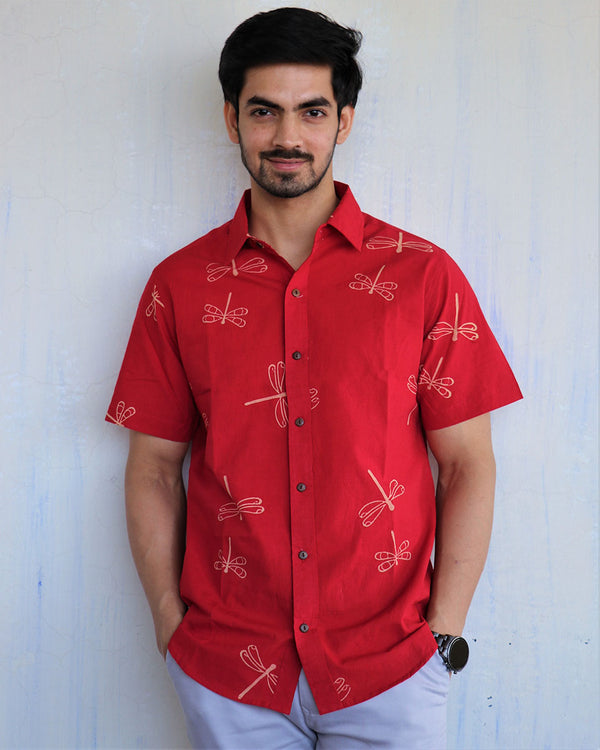 Red Dragonfly Block-Printed Men's Shirt