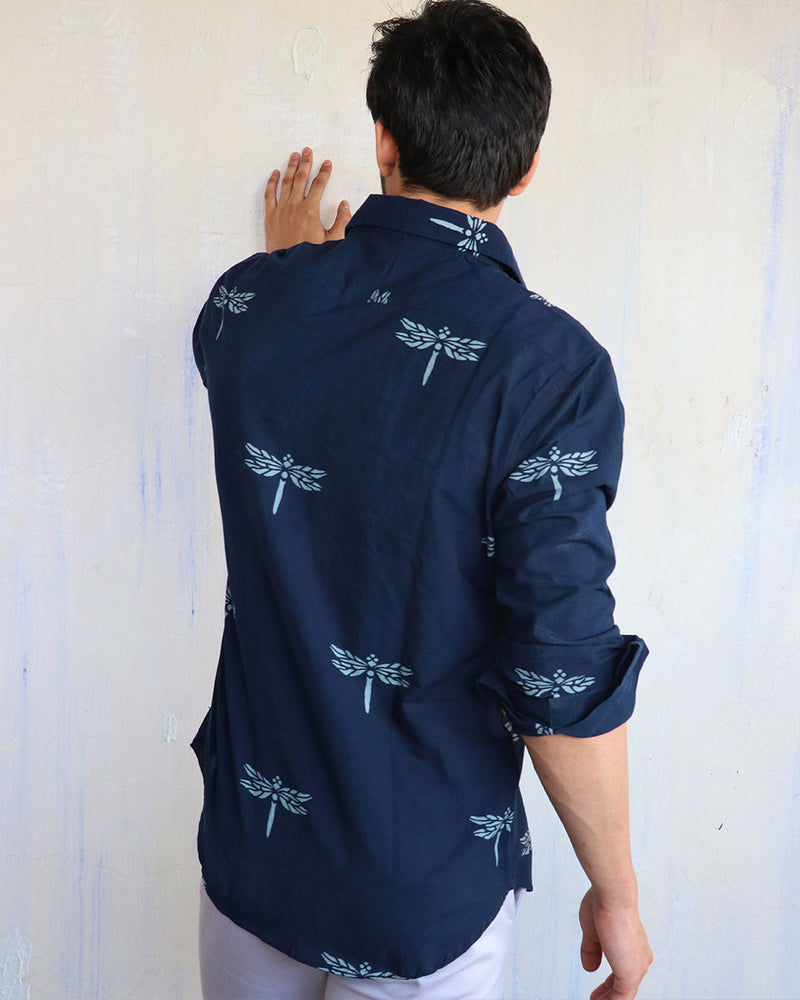 Navy Blue Dragonfly Block-Printed Men's Shirt