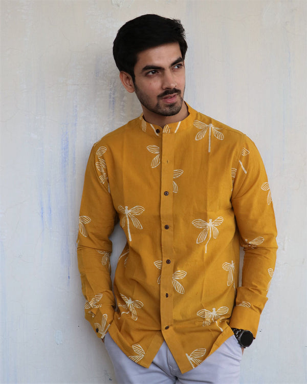 Mustard Dragonfly Block-Printed Men's Shirt