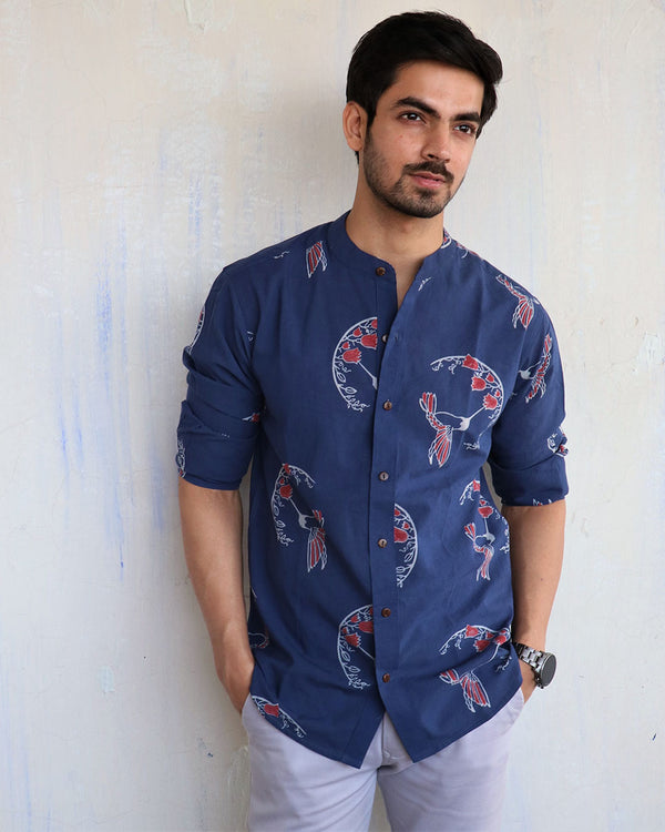 Blue Song Bird Block-Printed Men's Shirt