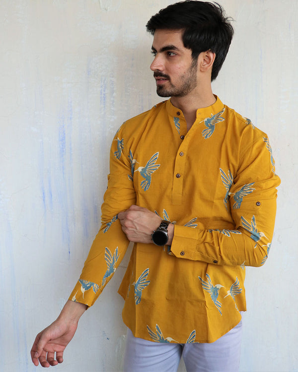 Mustard Flyon Block-Printed Men's Shirt
