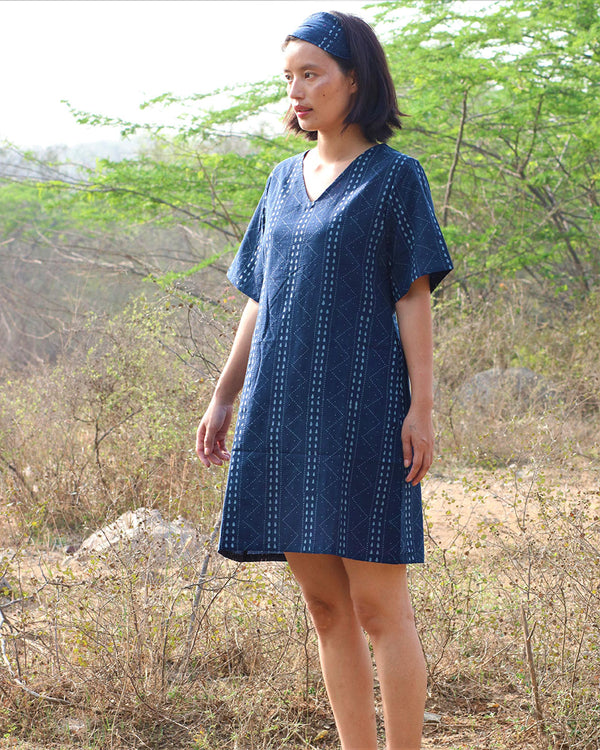 Blue blockprinted shift dress - moh