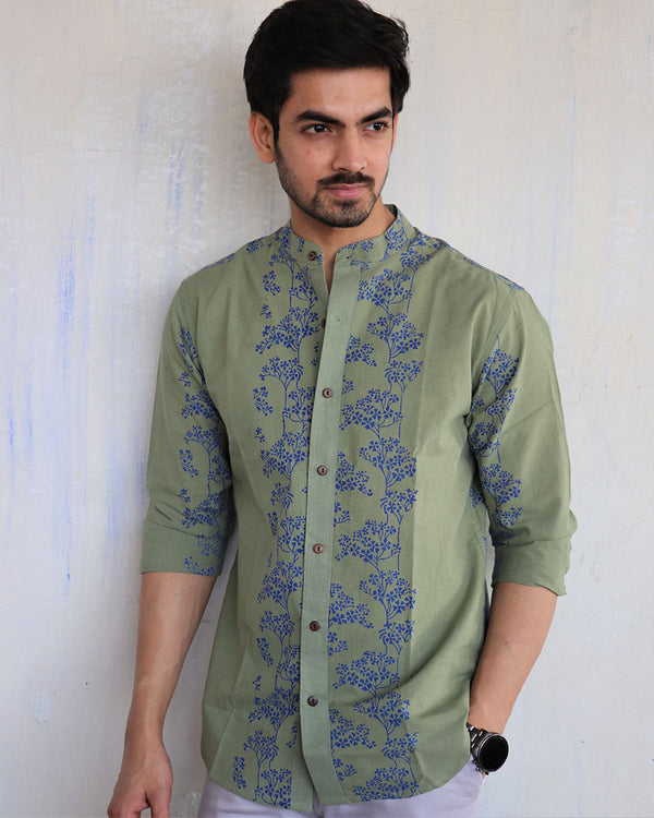 Olive Block-Printed Men's Shirt