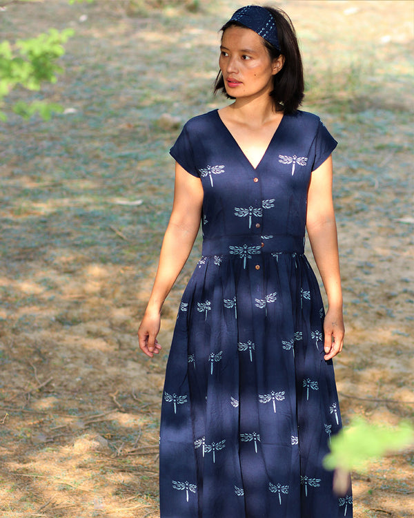 Blue blockprinted dragonfly dress-moh