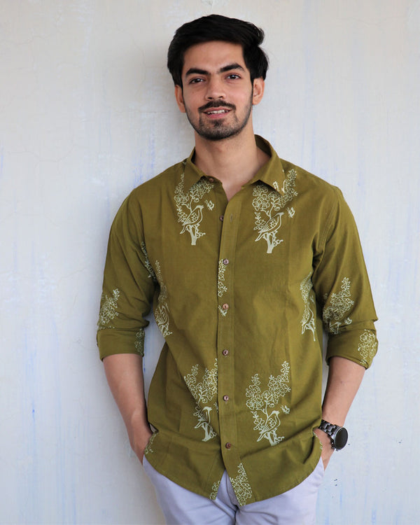Green Block-Printed Men's Shirt