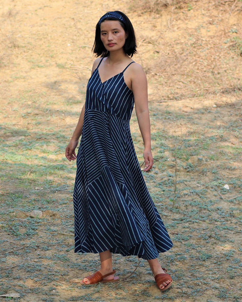 Blue blockprinted line dress-moh