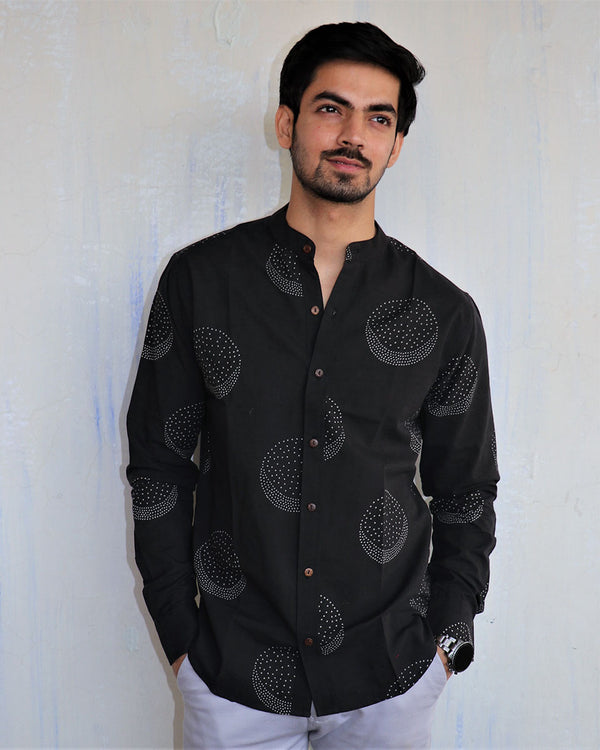 Black Moon Block-Printed Men's Shirt
