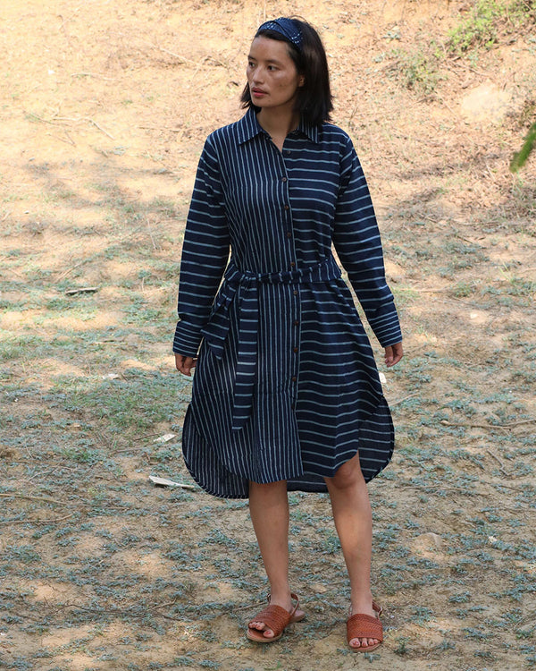 Blue blockprinted shirt dress