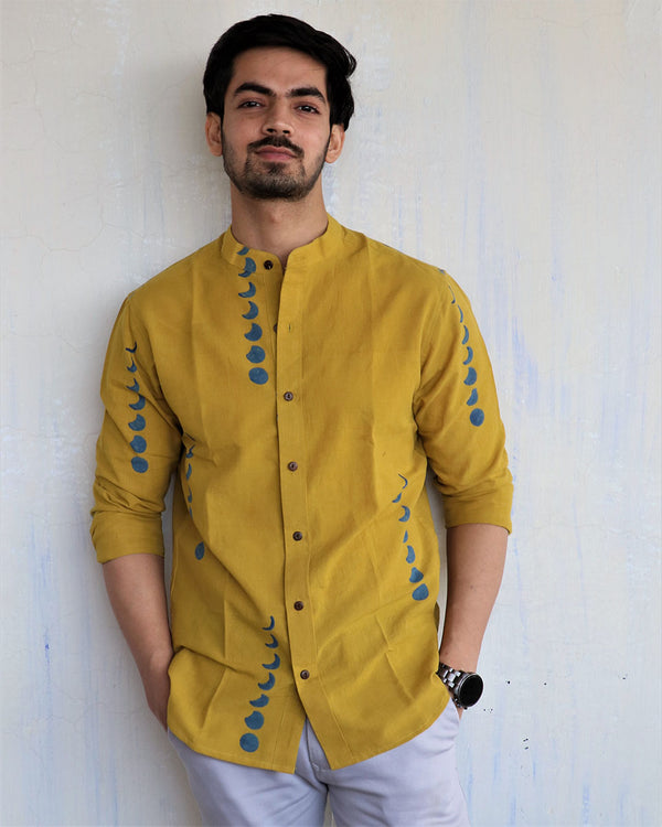Mustard Eclipes Block-Printed Men's Shirt