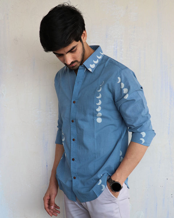 Blue Eclipes Block-Printed Men's Shirt