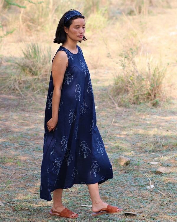 Blue blockprinted wildflower dress-moh