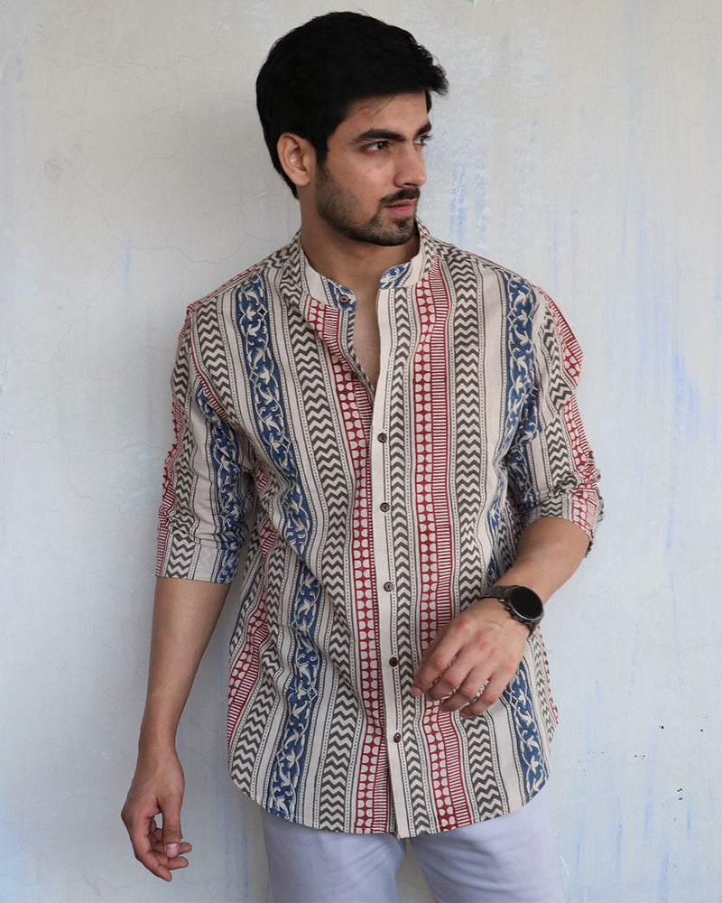 Ivory Block-Printed Men's Shirt