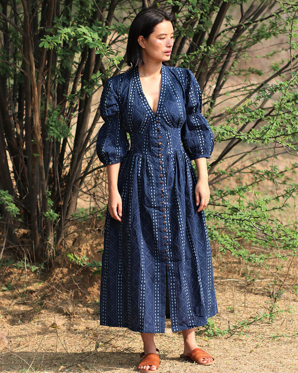 Blue blockprinted Jal dress-moh