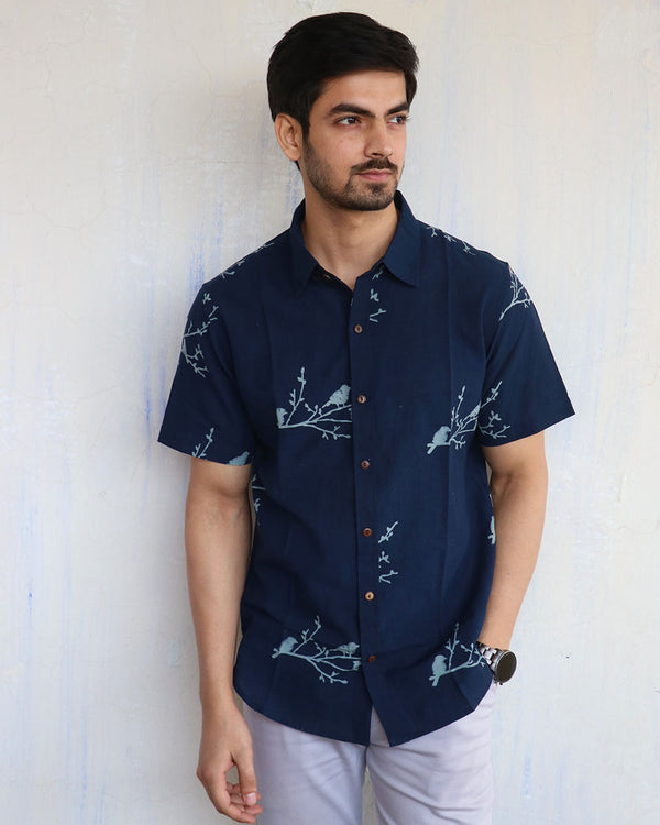 Blue Bird on Branch Block-Printed Men's Shirt