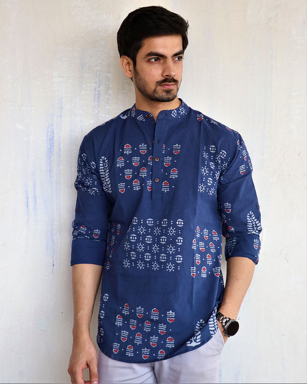 Royal Blue Block-Printed Men's Short Kurta