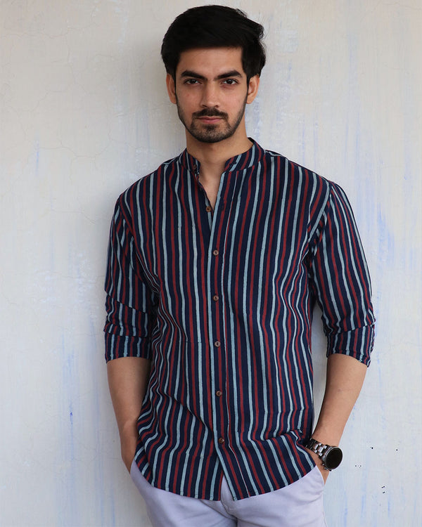Blue Stripe Block-Printed Men's Shirt