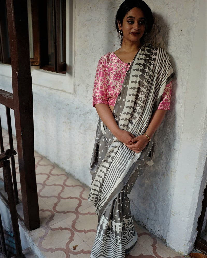 Grey BlockPrinted Modal Silk Saree