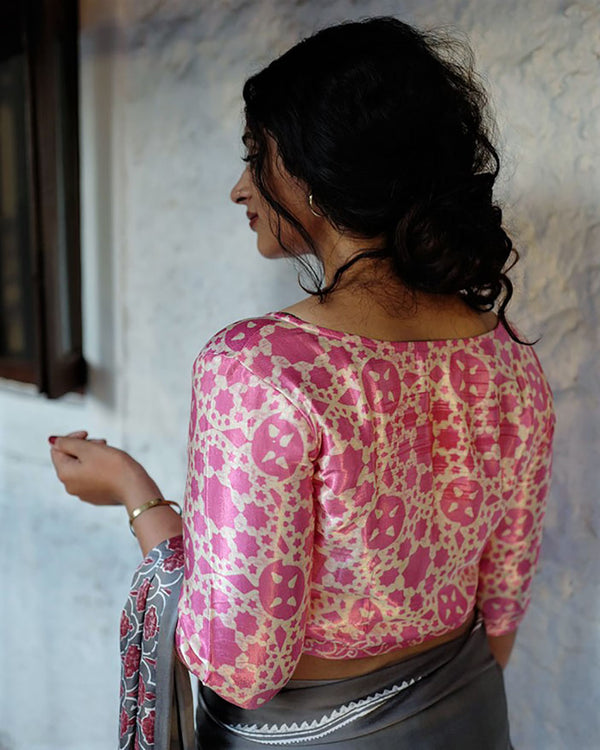 PINK BLOCK PRINTED CROP TOP BLOUSE IN MASHRU SILK
