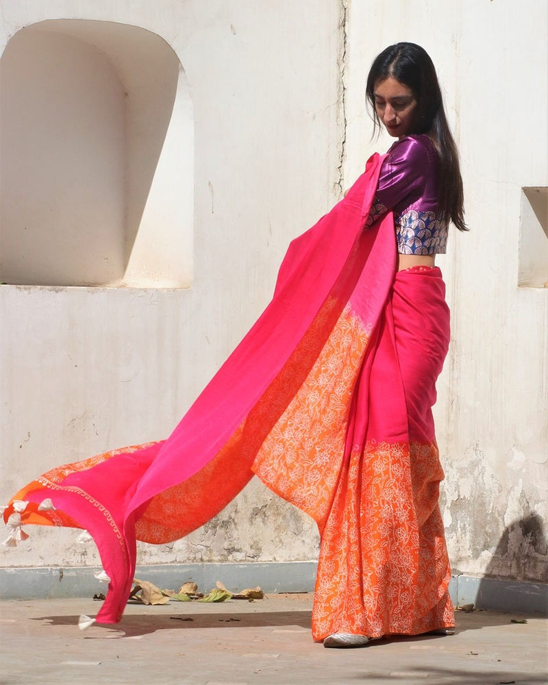 Pink-Orange Block Printed Modal Silk Saree