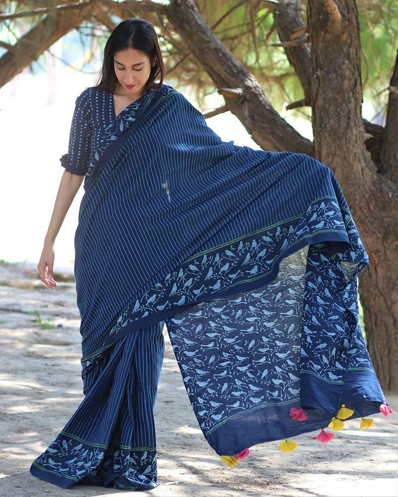 Blue BlockPrinted Cotton Mul Saree