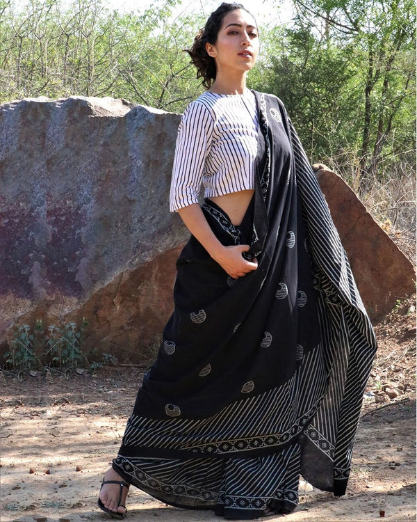 Black Moon blockprinted cotton mul saree