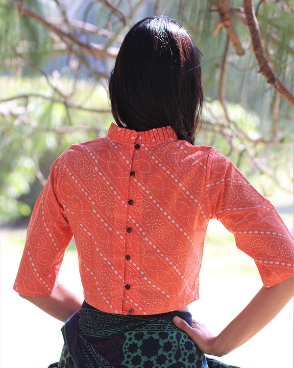 CORAL BLOCK PRINTED CROP TOP