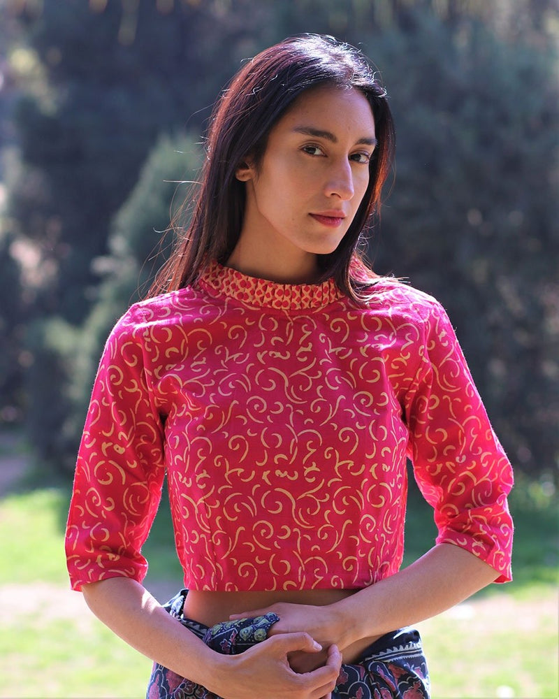Magenta frill neck cotton crop top