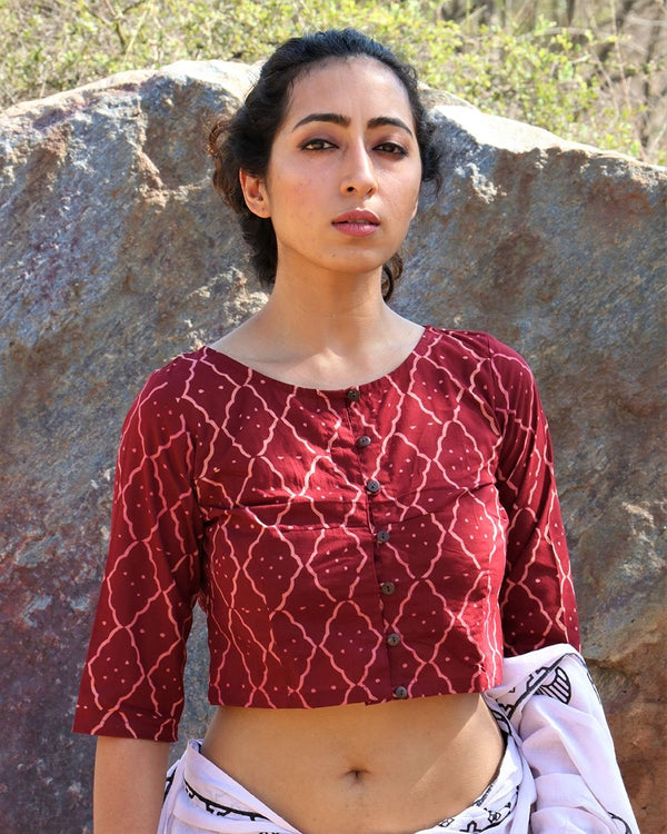 Maroon cotton crop top