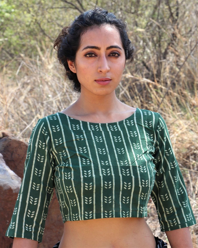 Green cotton crop top