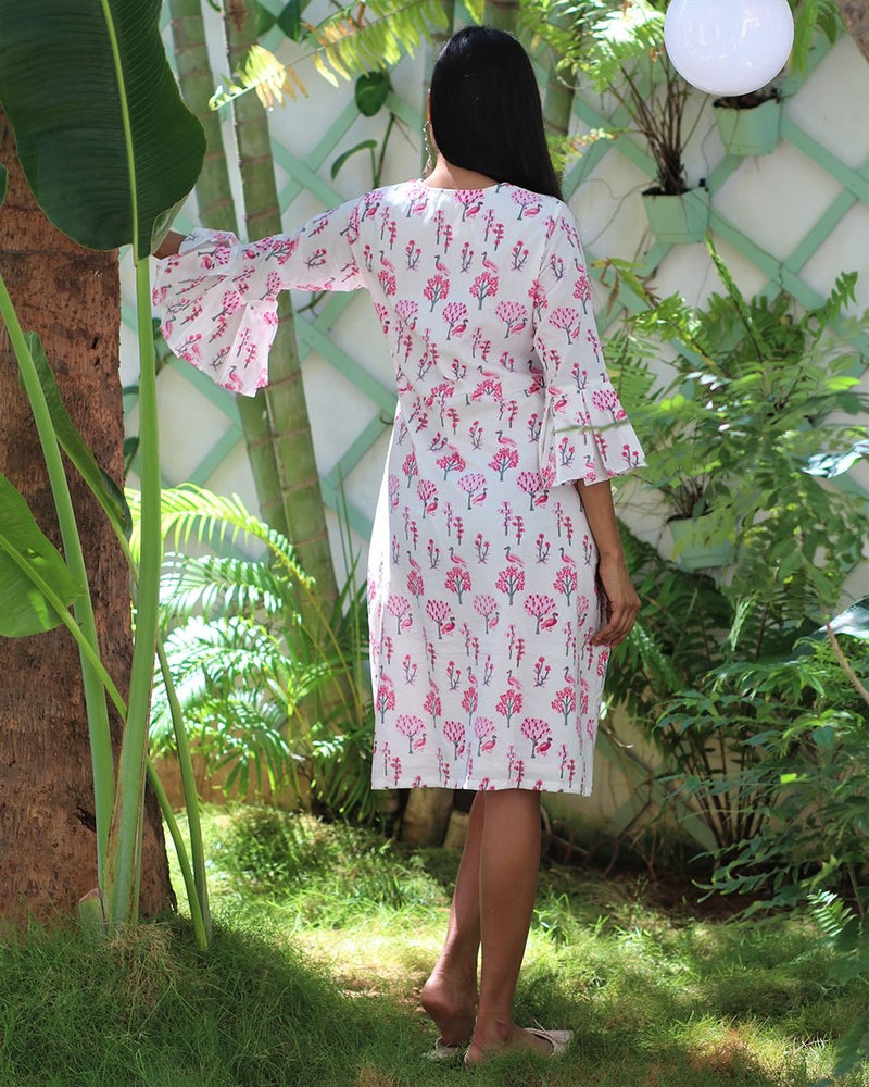 WHITE PINK HANDPRINTED COTTON  DRESS