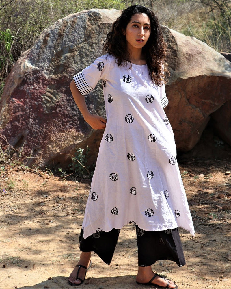White Moon Blockprinted Kurti