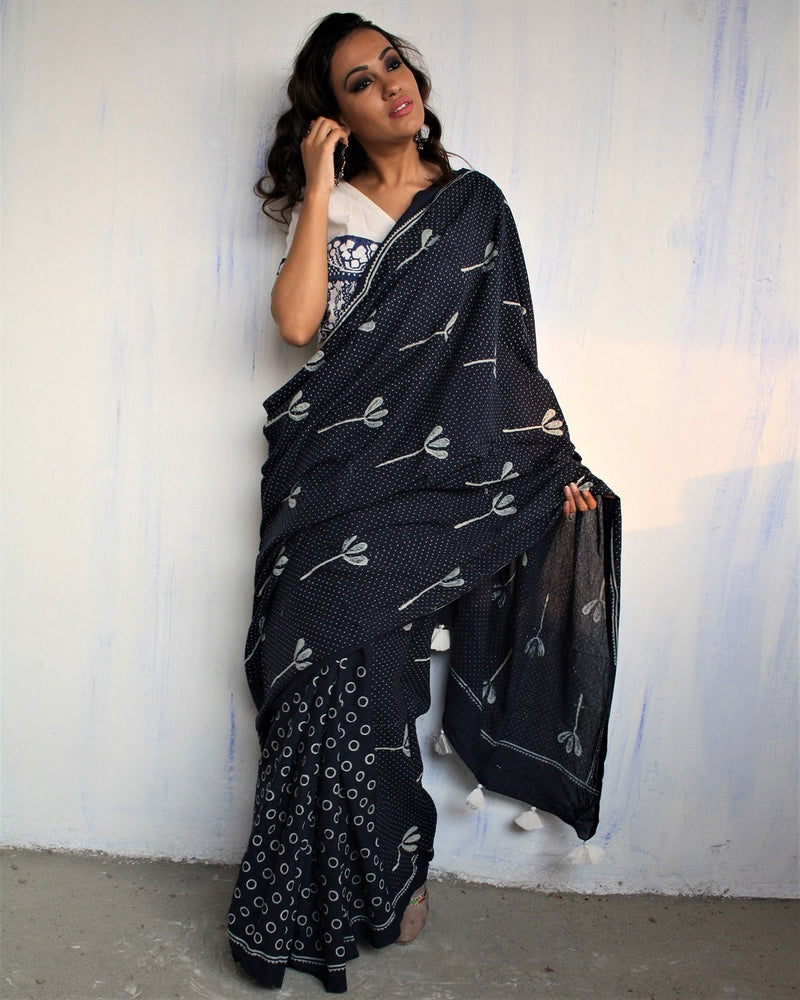 Blue Block Printed Cotton Mul Saree