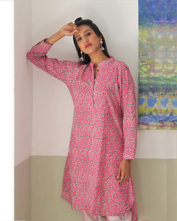 PINK HANDPRINTED COTTON KURTI