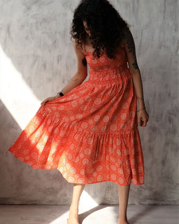 Coral blockprinted cotton string dress