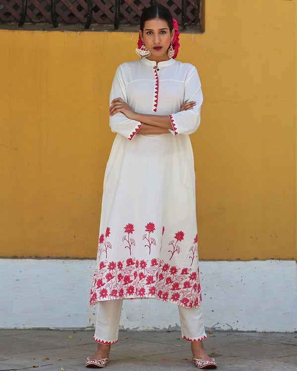 Ivory Red blockprinted bottoms with pockets