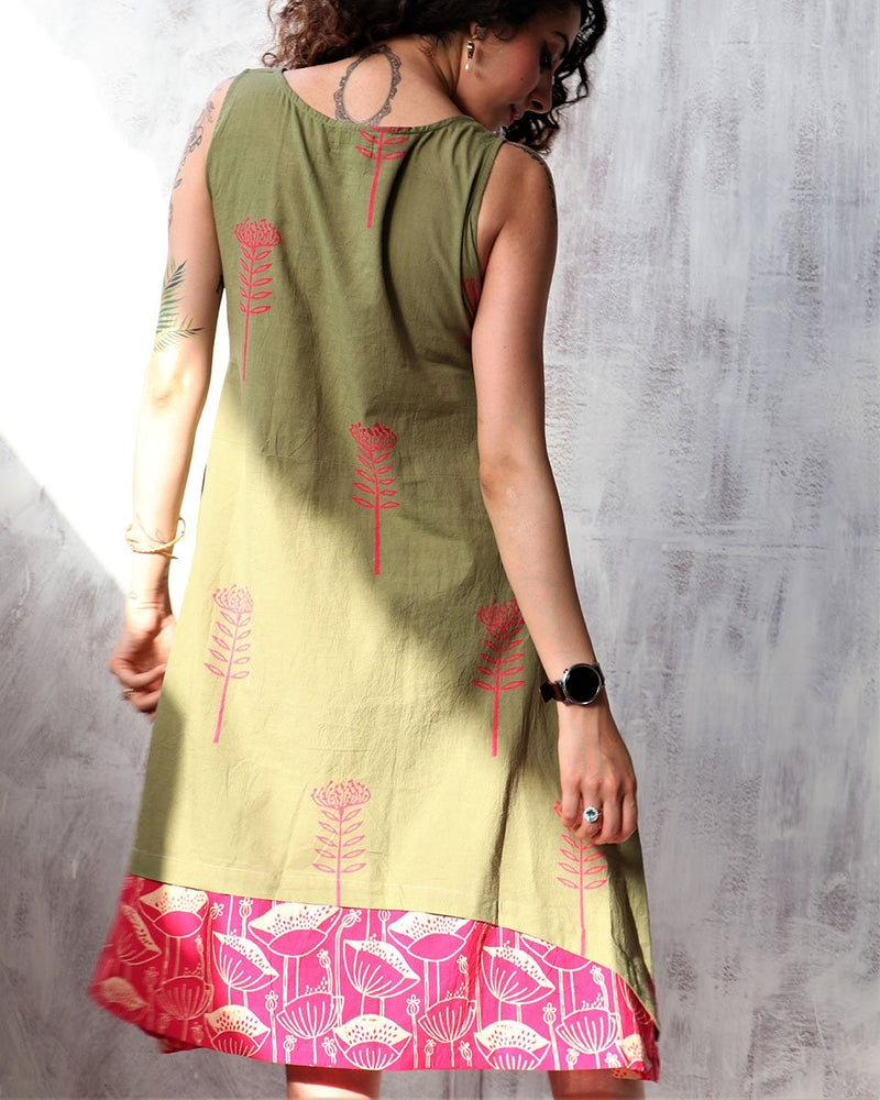 Olive blockprinted cotton sleevless dress