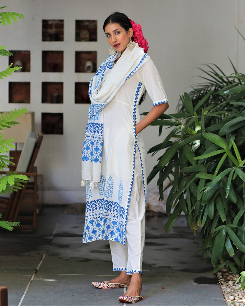 Ivory Blue blockprinted bottoms with pockets