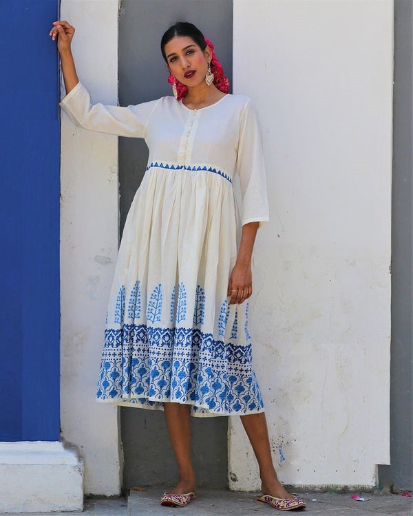 Ivory Blue blockprinted gathered dress