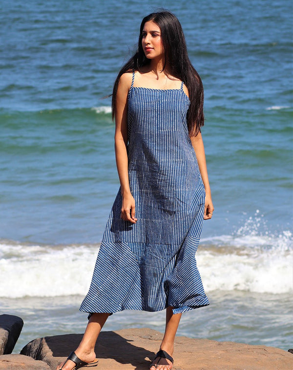 NEELA INDIGO STRIPE DRESS