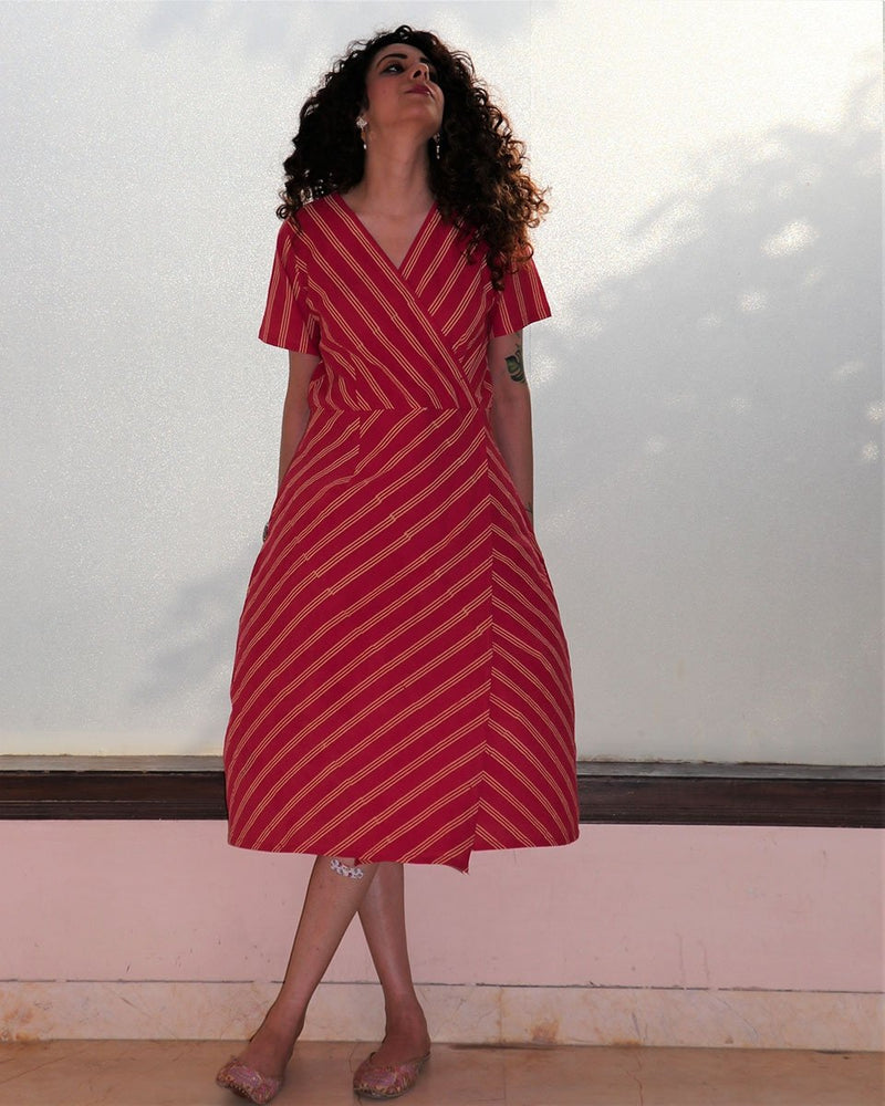 Rani Stripe overlap blockprinted cotton dress