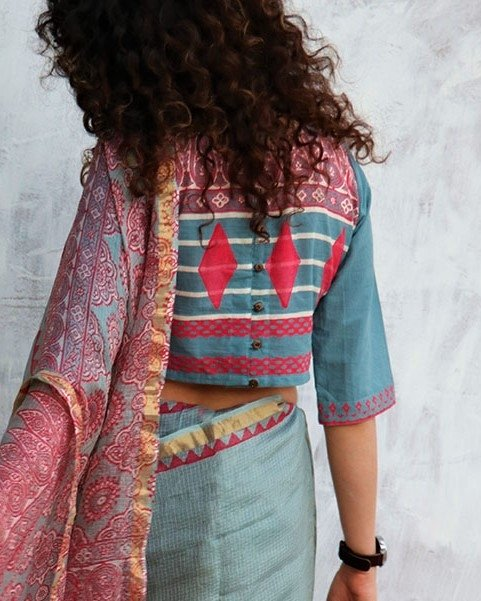 Steel Blue Blockprinted Cotton Crop top Blouse