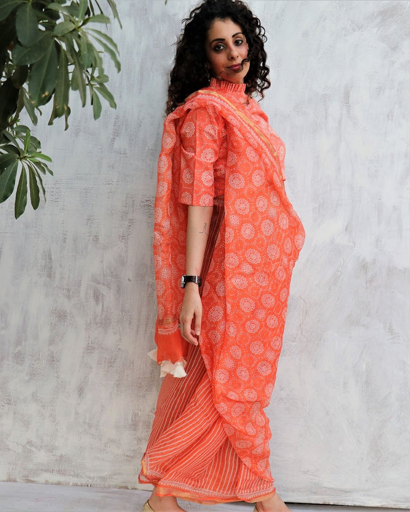 CORAL KOTA SILK BLOCKPRINTED SAREE