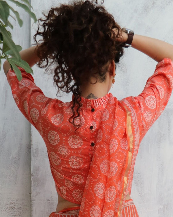 Coral Blockprinted Crop top