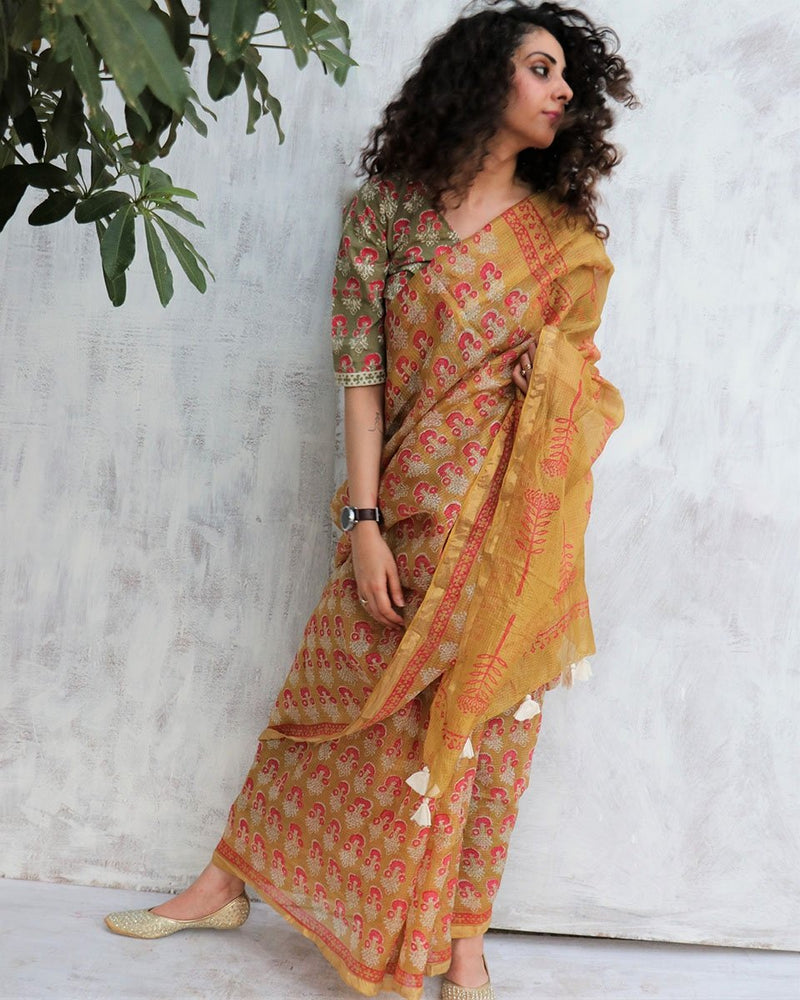 OLIVE KOTA SILK BLOCKPRINTED SAREE