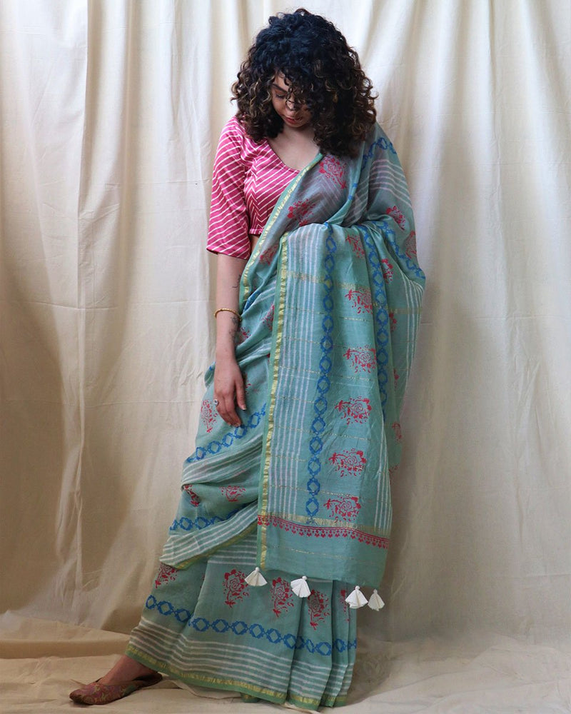 Sea Blue Block Printed Chanderi Saree