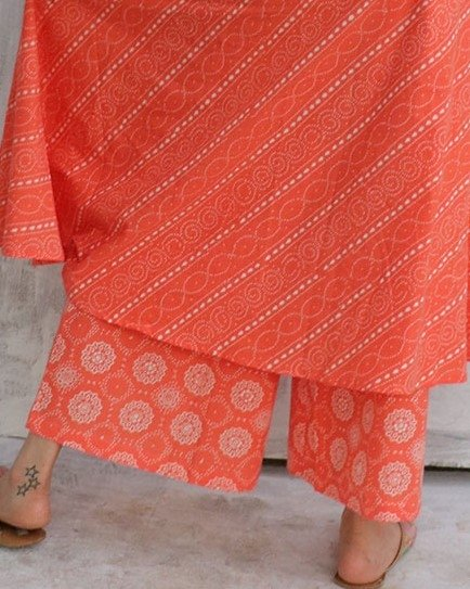 Coral Blockprinted Bottoms